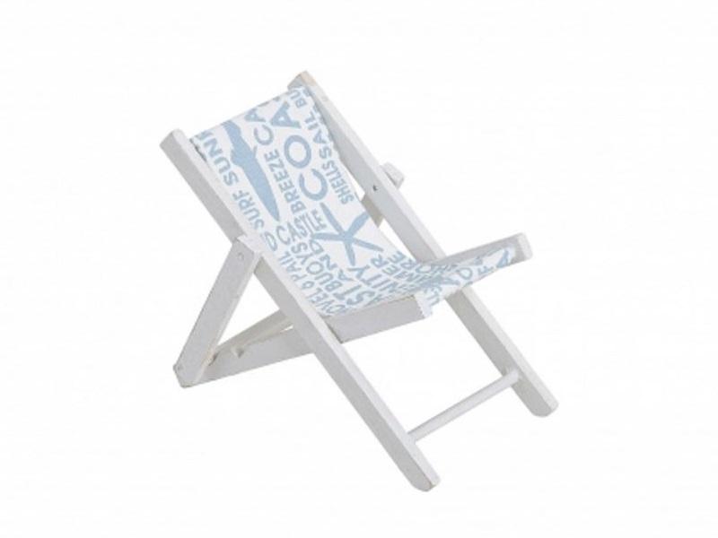 Mini Deko Liegestuhl Klappstuhl aus Holz/Stoff Maritime Deko B14 x T10 x H12 cm