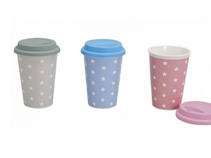To go Kaffeebecher m. Deckel Kaffeetasse togo Becher Tasse Porzellan 0,4l Sterne