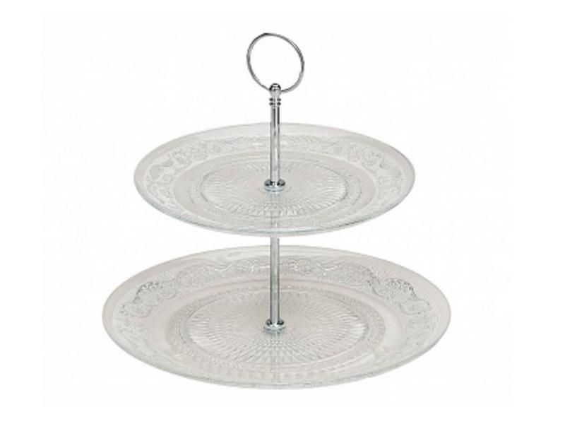 2 stöckige Etagere klassisch Glas Servierhilfe Servierplatte Ø 20 + 25 cm