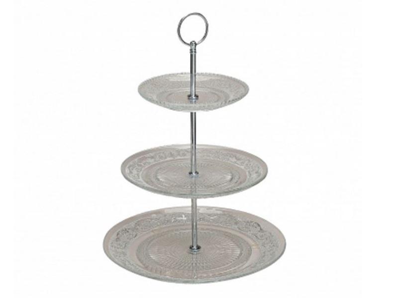 3 stöckige Etagere klassisch Glas Servierhilfe Servierplatte Ø 15 + 19 + 25 cm