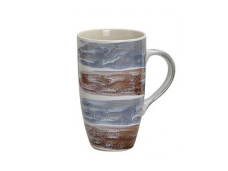 XL Kaffeetasse oder Teetasse modernes Design H13cm Ø8cm Farbe Blau - Braun