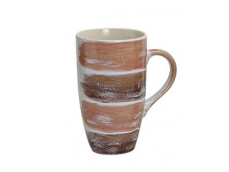 XL Kaffeetasse oder Teetasse modernes Design H13cm Ø8cm Farbe Rot - Braun