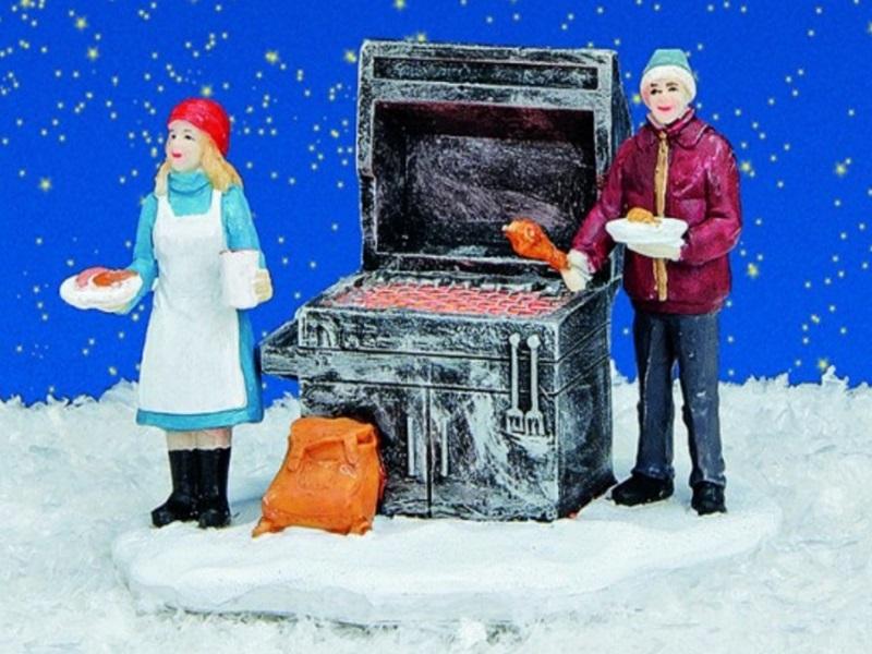 """Lichthaus Winterwelt """"Grillstand"""" beleuchtet B10/T8/H7 cm Miniaturwelt"""