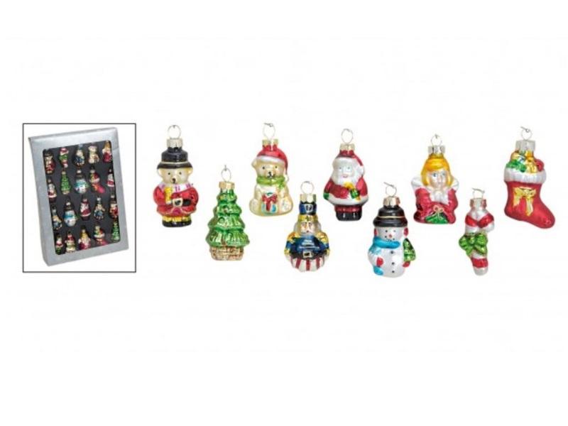 Weihnachtsanhänger 20 tlg. Set Glas handbemalt h5 cm Weihnachtsmann