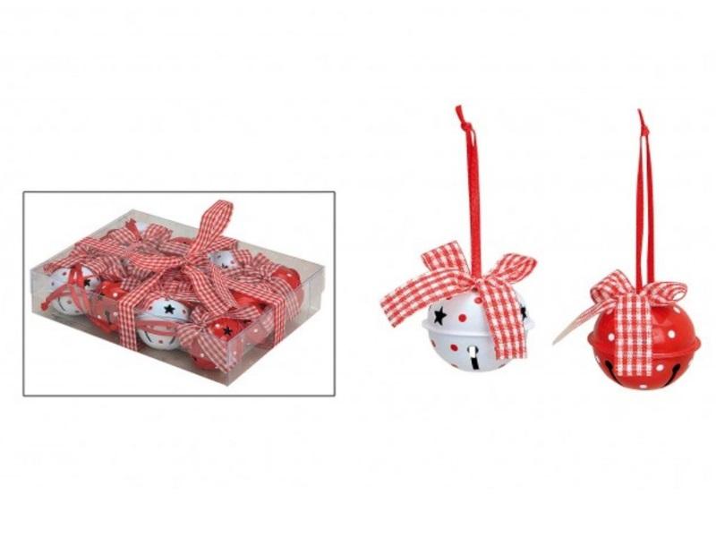 Weihnachtsglocken mit Schleife (Rot/Weiß) 12 tlg  Metall Ø4 cm Glocken