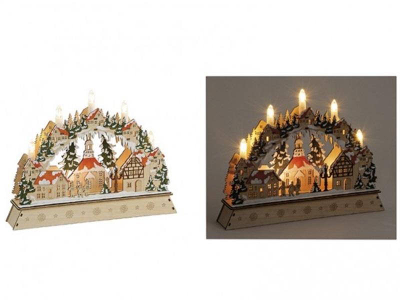"""Lichtbogen aus Holz """"Winterdorf"""" beleuchtet B35/T6/H26 cm handbemalt Weihnachten"""