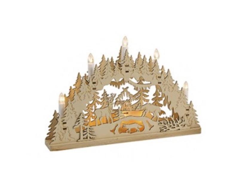 Lichtbogen aus Holz mit Winterlandschaft B35cm T6cm H24cm Schwibbogen- Waldlands (a)