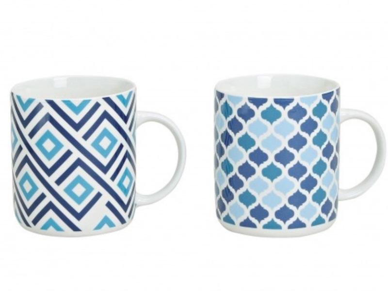 """2er-Set Kaffeebecher """"Blue"""" in zwei Varianten H11cm 400ml (blau)"""