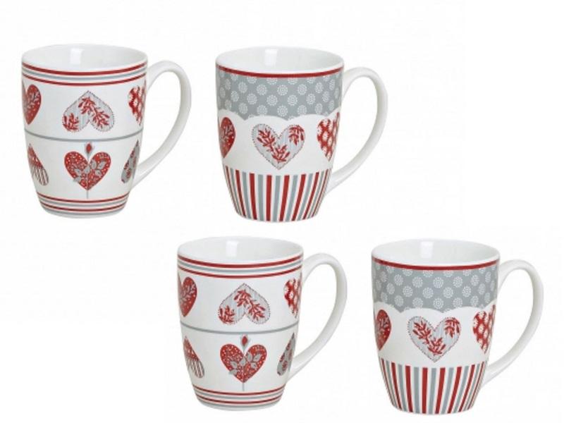 4 Kaffeetasse Kaffee Mokka Crema Tee Becher Pott Porzellan Herz Dekor 300 ml