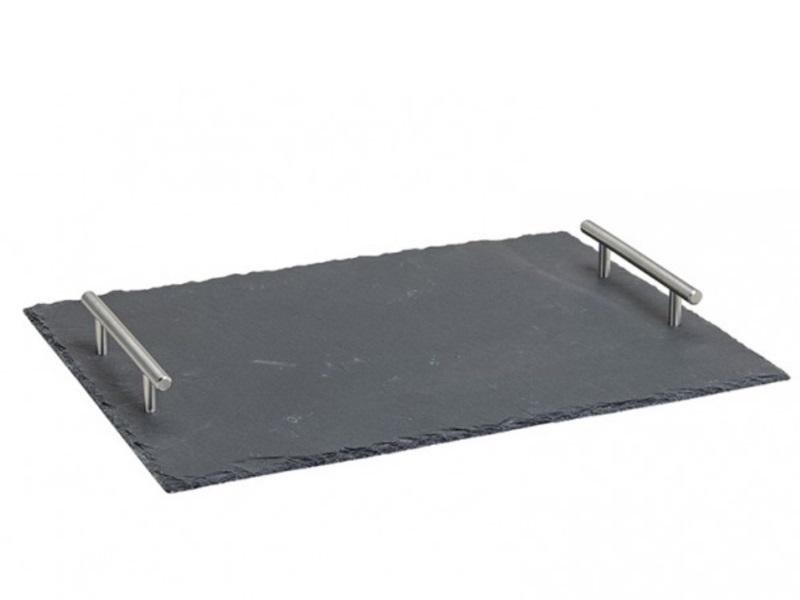 Serviertablett aus Schiefer mit Metallgriffen B40/H5/T30cm