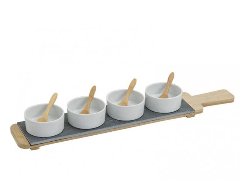 9 tlg. Set Serviertablett mit Schalen und Löffel aus Porzellan/Bambus/Schiefer