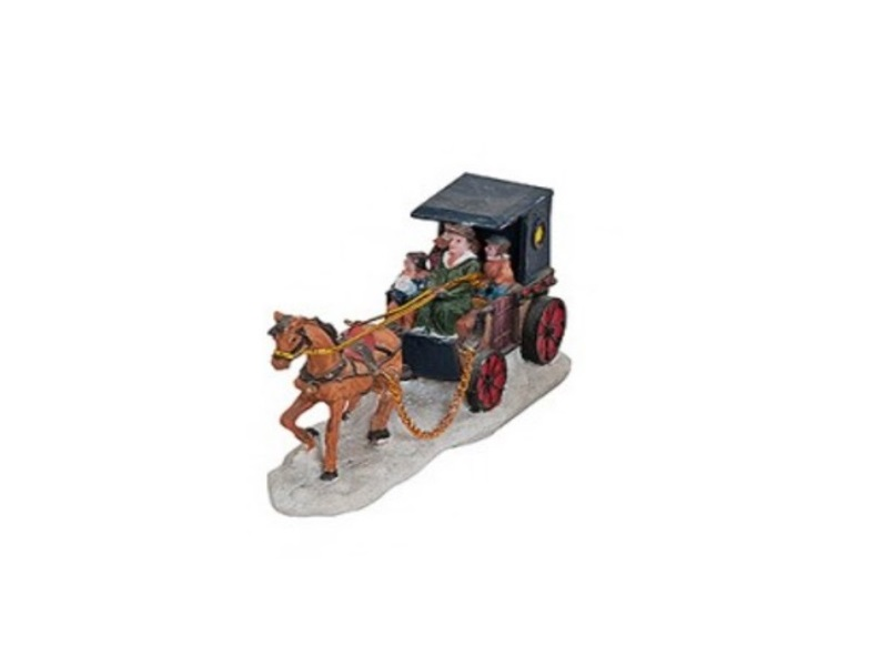 Lichthaus Winterwelt B14/T4/H7cm Miniaturwelt - Motiv Kutsche mit Dach