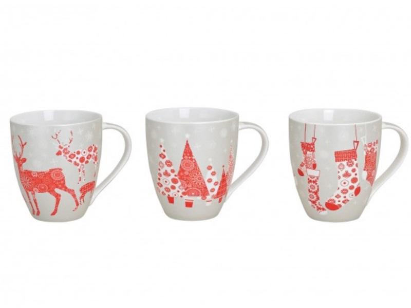 """3er-Set Kaffeebecher """"Christmas"""" Porzellan versch. Motive H11cm 400ml (rot/grau)"""