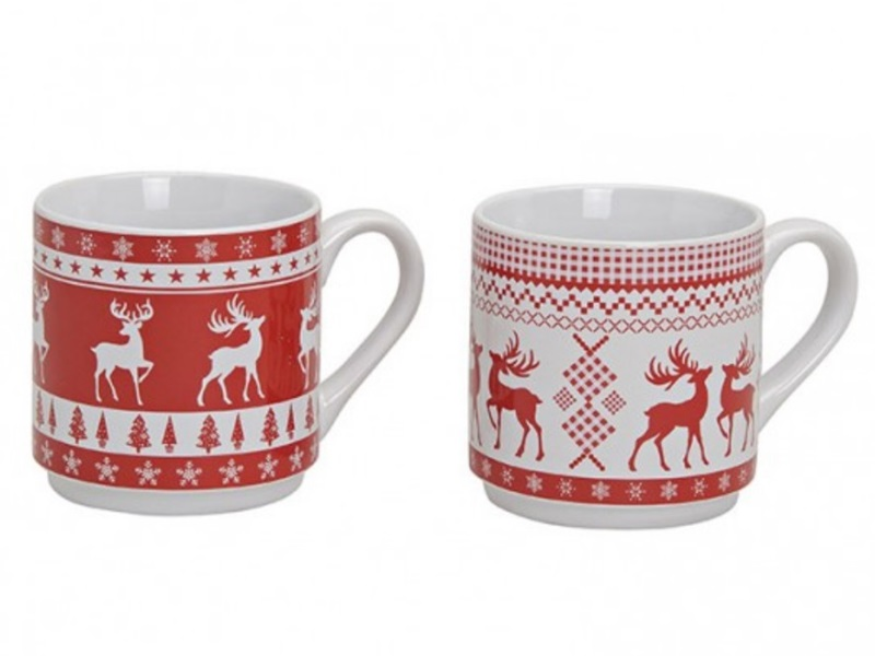 """2er-Set Kaffeebecher """"Christmas Classic"""" zwei Motive H10cm 350ml (rot/weiß)"""