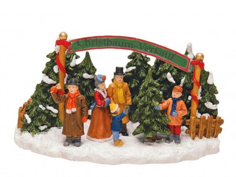 "Lichthaus Winterwelt ""Christbaum Verkaufsstand"" B17/T10/H10 cm Miniaturwelt"