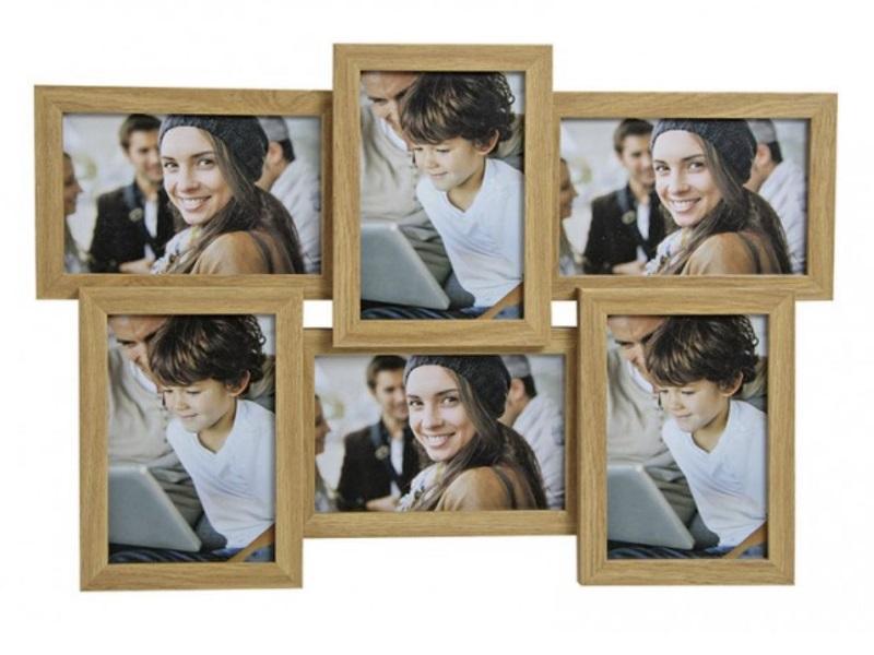 Moderner Fotorahmen aus Holz - Bilderrahmen für Fotos bis 10x15cm -6 Bilder