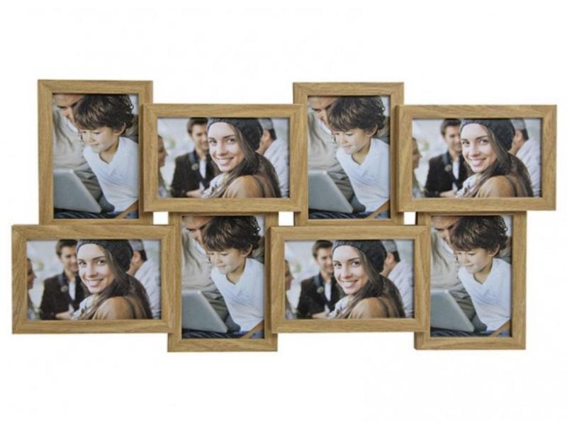 Moderner Fotorahmen aus Holz - Bilderrahmen für Fotos bis 10x15cm -8 Bilder