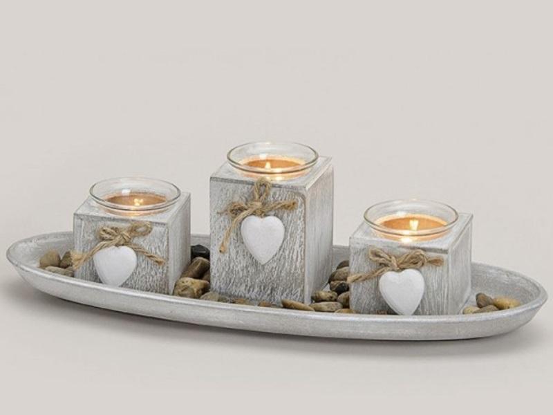 Schönes Deko-Set mit 3 Teelichthalter auf Tablett - B39cm H10cm T14cm - Farbe Gr