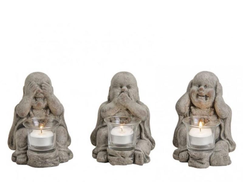 3er Set Buddha-Figuren mit Teelichthalter - sitzend aus Ton B10xT12xH14cm -Farbe