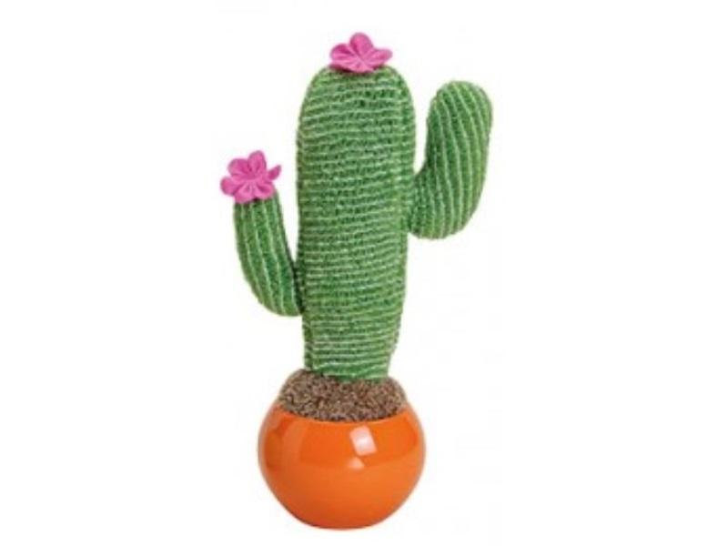 XL Kaktus II aus Textil gefüttert mit Blüten in Keramiktopf - Höhe 28cm oranger