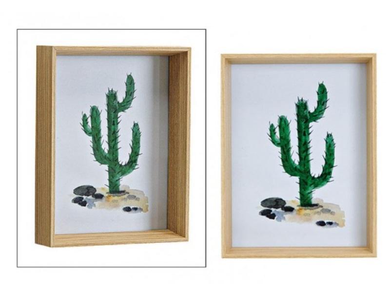bilderrahmen mit kaktus f r fotos bis 13x18cm sch ner holzrahmen h19xb14xt4cm. Black Bedroom Furniture Sets. Home Design Ideas