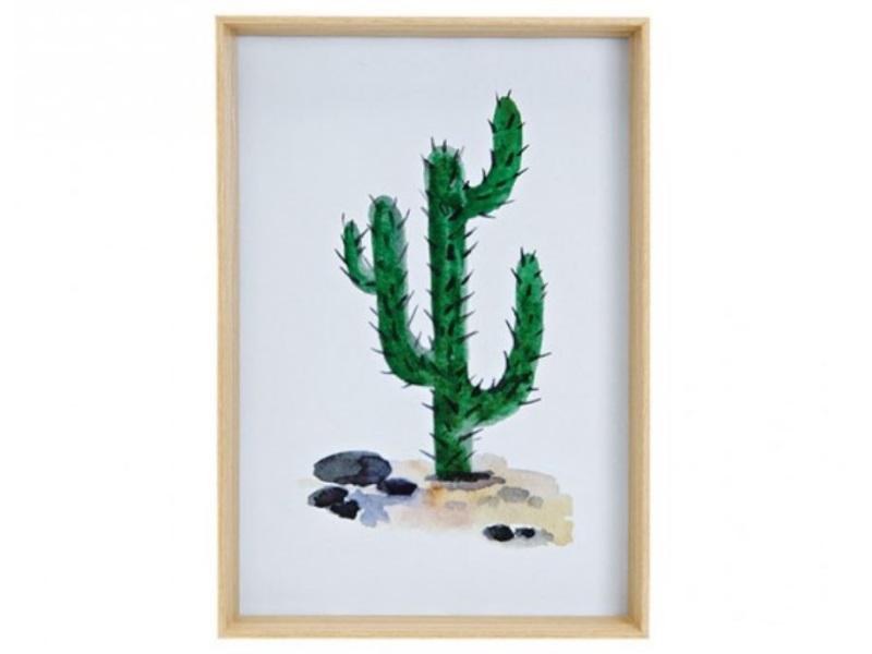 Bilderrahmen mit Kaktus - für Fotos bis 20x30cm - schöner Holzrahmen - H31xB21xT