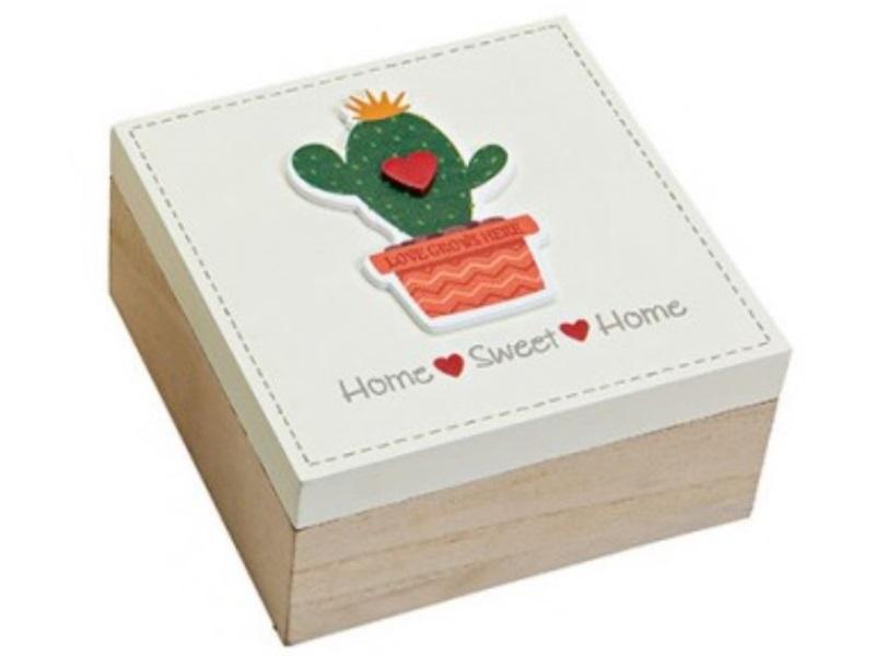 Schachtel aus Holz mit Kaktus-Motiv -Deckel weiß - B15cm H7cm T15cm - Home Sweet