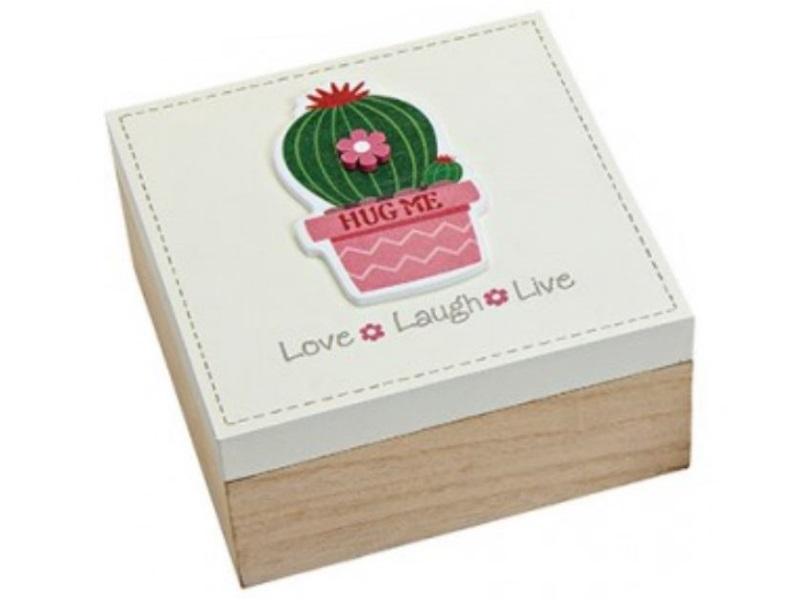 Schachtel aus Holz mit Kaktus-Motiv - Deckel weiß- B15cm H7cm T15cm - Love Laugh
