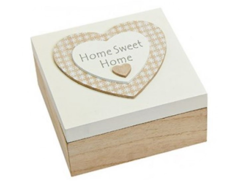Schachtel aus Holz mit Herz-Motiv - Deckel weiß - B16cm H7cm T16cm - Home Sweet