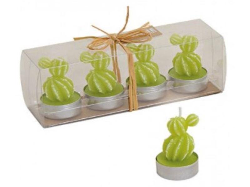 Süße Kaktus Teelichter im 4er Pack - je Teelicht Ø4cm H6cm - Farbe Hellgrün