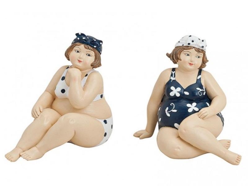 2er Set Badenixen aus Poly - Figuren sitzende Frauen im Badeanzug - B13cm H12cm