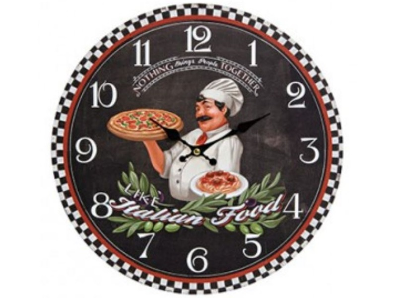 Schöne dekorative Wanduhr - Italian Food Style Design Italian Food - Uhr Ø 33 cm