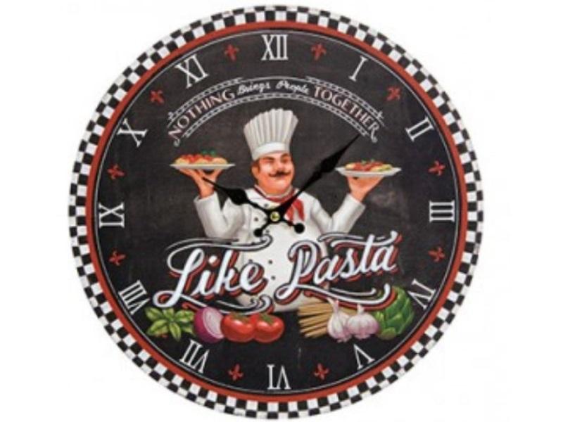 Schöne dekorative Wanduhr - Italian Food Style Design Like Pasta - Uhr Ø 33 cm