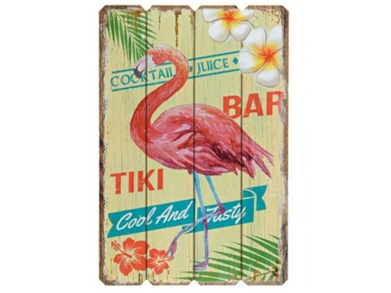 "Wandbild Flamingo Motiv ""Tiki Bar"" aus Holz B38cm H57cm T1cm Deko Schild"