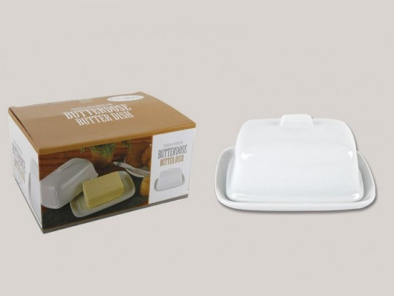 Klassische Butterdose aus Porzellan in weiß - B18cm H13cm T7cm