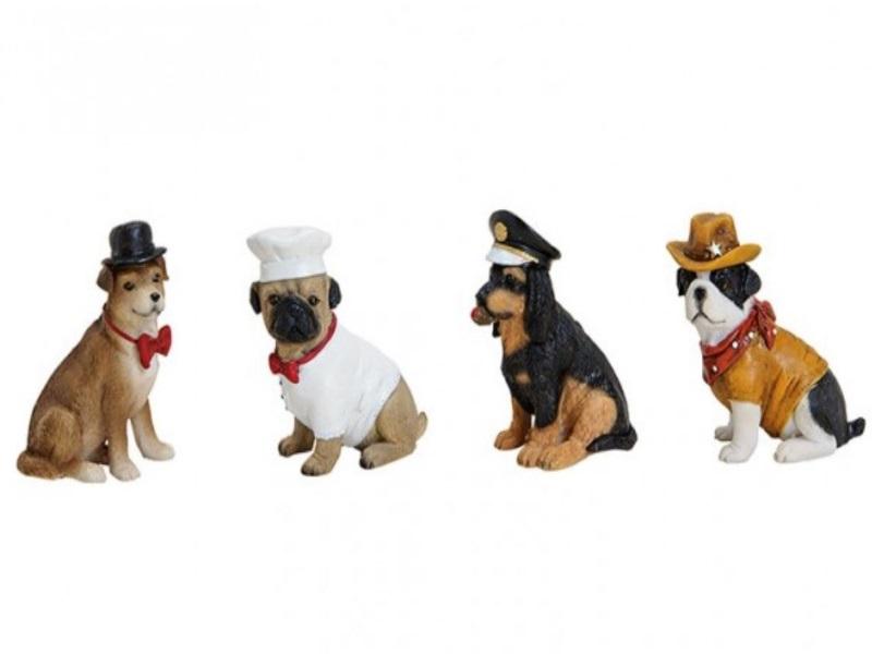 4er Set - Working Dogs - Lustige Figuren aus Poly - B8cm H8cm T4cm