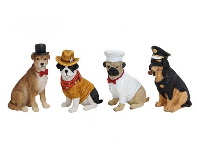 4er Set - Working Dogs - Lustige Figuren aus Poly - B11cm H12cm T6cm