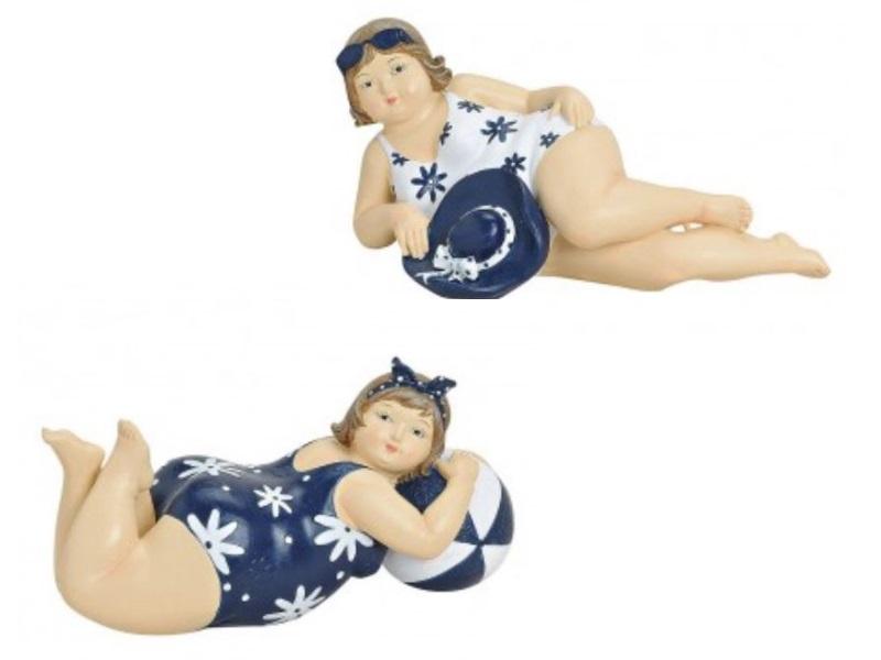 2er Set Badenixen aus Poly - Figuren Frauen im Badeanzug - B20cm H8cm T8cm
