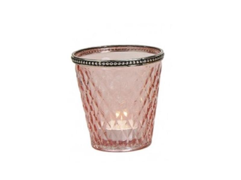Stilvolles Windlicht aus Glas und Metall Ø10cm H10cm Farbe Rosa