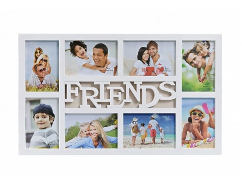 3D Fotorahmen 8 Fotos Bilderrahmen Fotogalerie Friends Collage weiß 53 x 32 cm