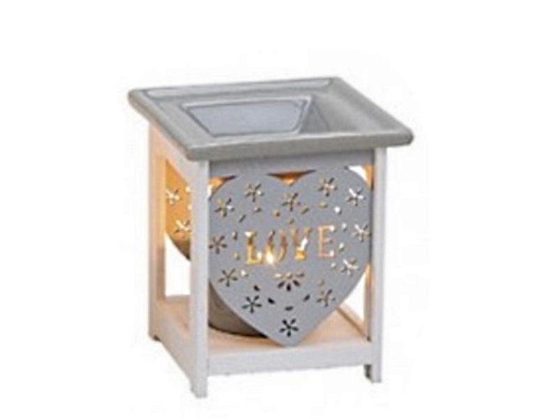 "Duftlampe ""Love"" B10cm T10cm H12cm aus Keramik / Holz Farbe Grau"
