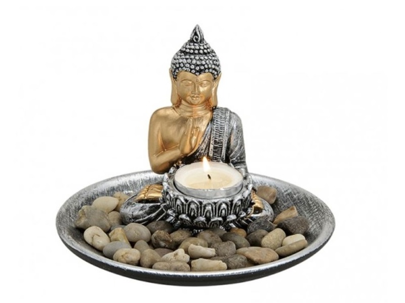zen garten deko set buddha figur teelichthalter 15 h14cm gold silber. Black Bedroom Furniture Sets. Home Design Ideas