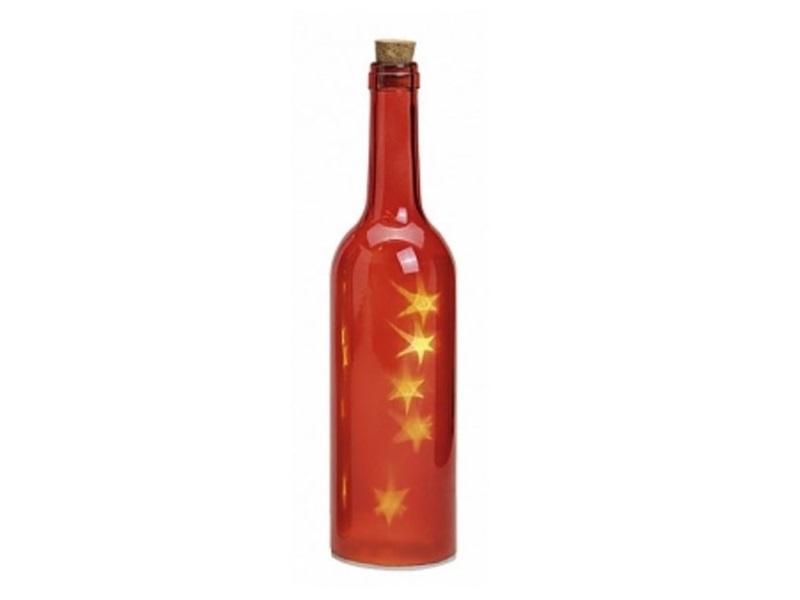 LED beleuchtete Glasflasche Gartenleuchte Dekoleuchte Lampe 29 x 7 cm Farbe Rot