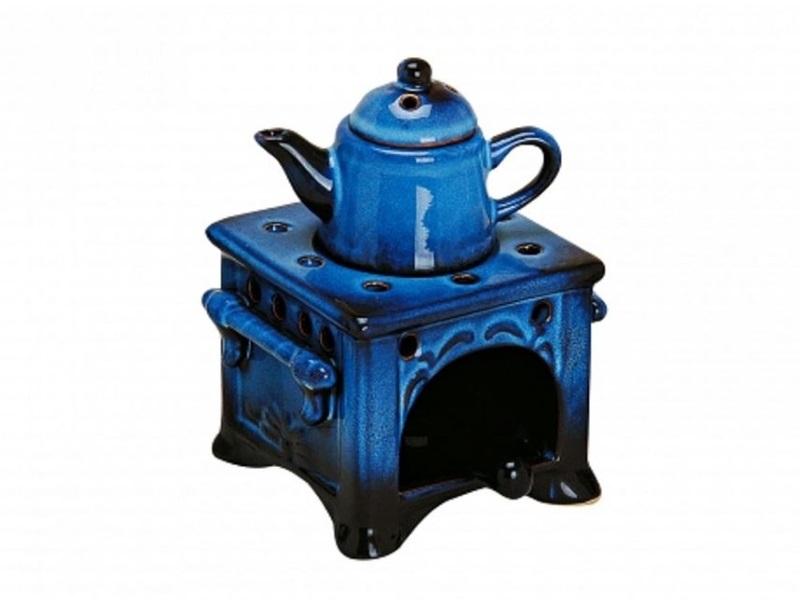Duftlampe Aromalampe Keramik Herd mit Kessel blau 15 cm groß