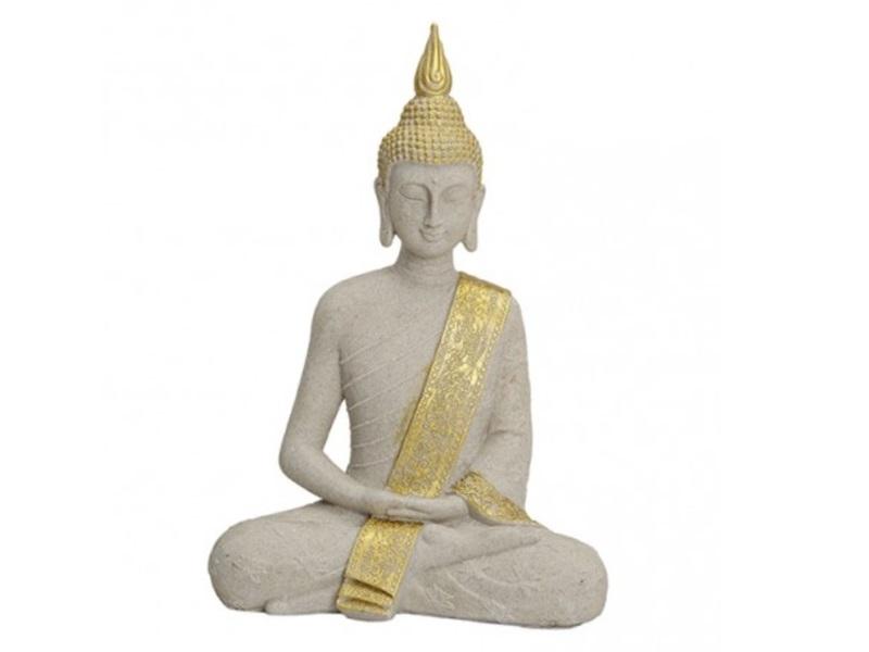 Buddha Figur meditierend sitzend Beige/Gold aus Poly H40/B27/T16cm