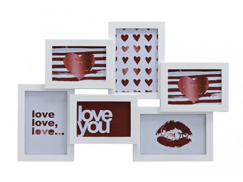 """Fotorahmen """"LOVE"""" für 6 Bilder (9x13/10x15) aus Kunststoff B45/H31cm weiß"""