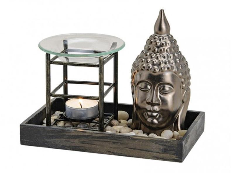 "Duftlampe-Set ""BUDDHA"" B19/T11/H12 cm aus Keramik/Holz"