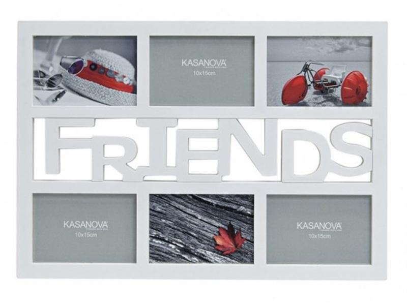 """Fotorahmen """"FRIENDS"""" für 6 Bilder (9x13/10x15) aus Kunststoff B48/H33cm weiß"""