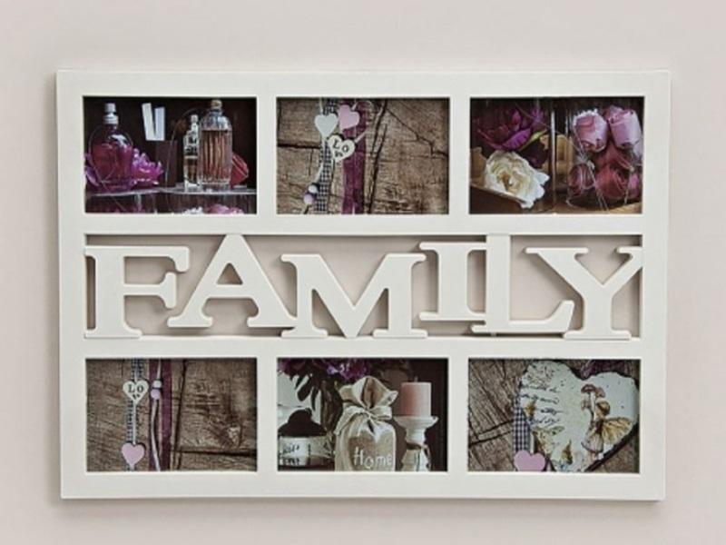3D Fotorahmen 6 Fotos Bilderrahmen Fotogalerie Family Collage weiß 48 x 33 cm