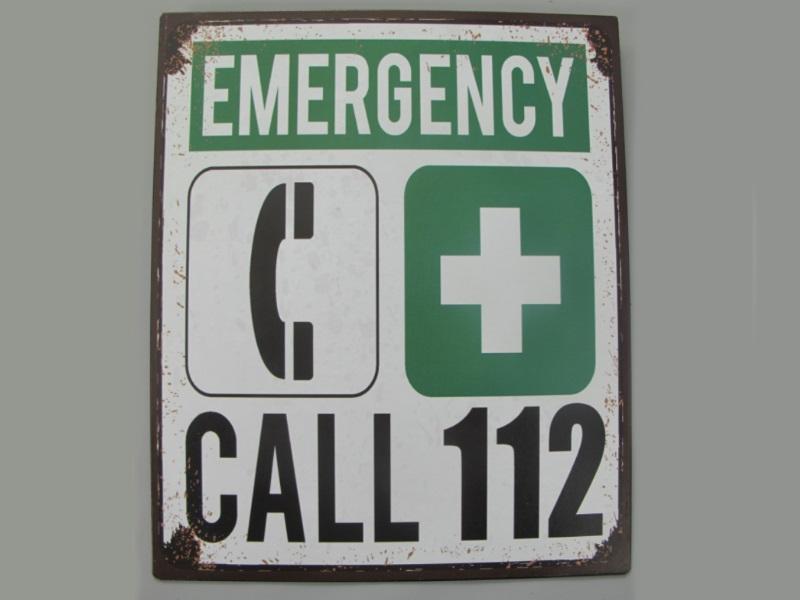 Wandschild - Blechschild aus Eisenblech - Top Deko, Emergency Call 112 - H25 x B